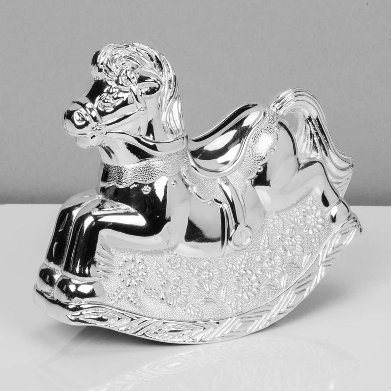 Bambino Silver Plated Rocking Horse Money Box