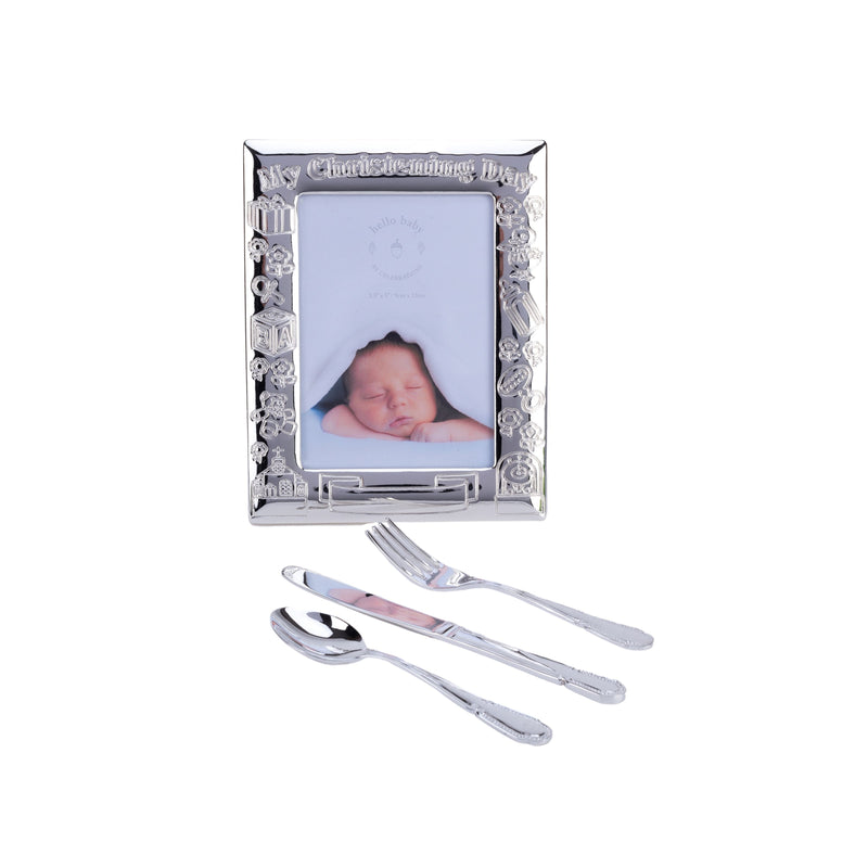 "3.5"" x 5"" - Silverplated Christening Day Frame & Cutlery Set"