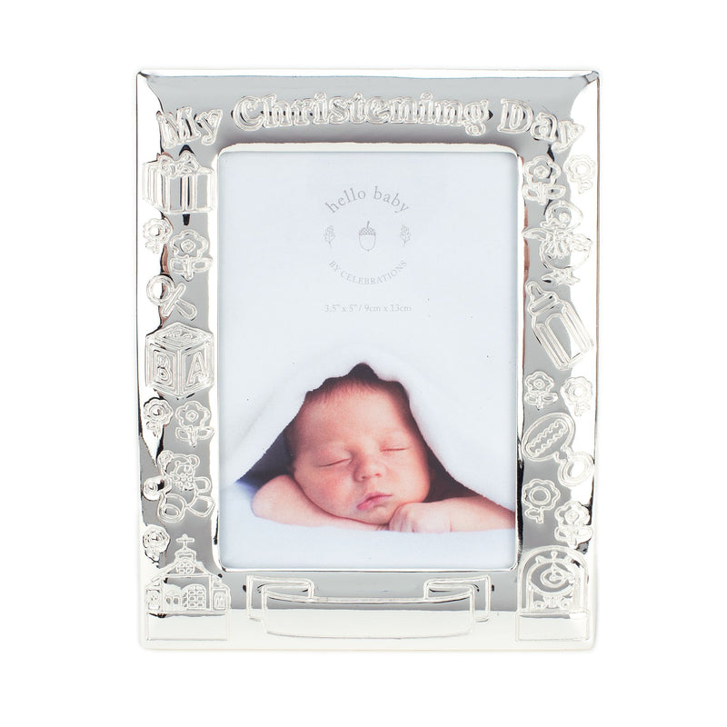 "3.5"" x 5"" - Silver Plated My Christening Day Photo Frame"