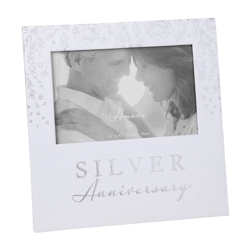 "6"" x 4"" - AMORE BY JULIANA® Photo Frame - Silver Anniversary"