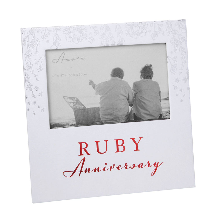"6"" x 4"" - AMORE BY JULIANA® Photo Frame - Ruby Anniversary"