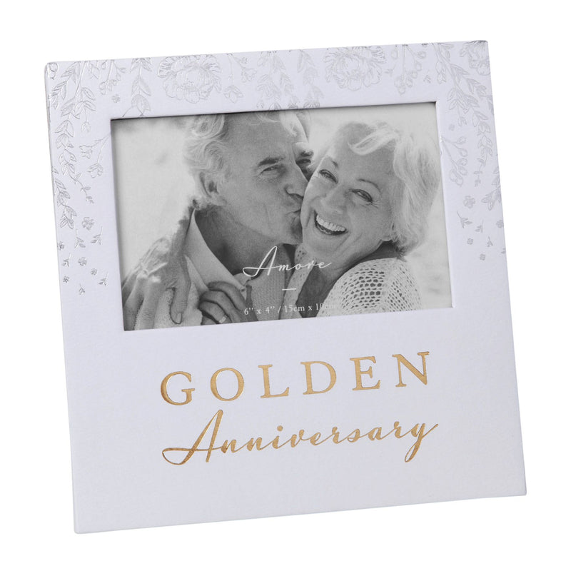 "6"" x 4"" - AMORE BY JULIANA® Photo Frame - Golden Anniversary"