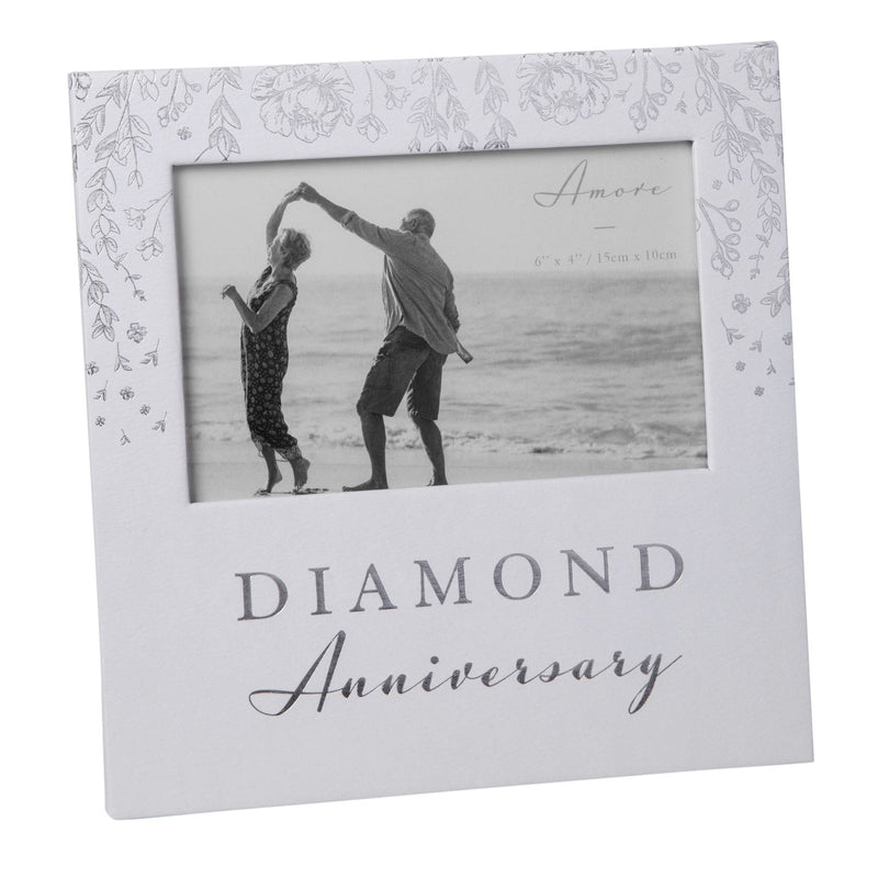 "6"" x 4"" - AMORE BY JULIANA® Photo Frame- Diamond Anniversary"