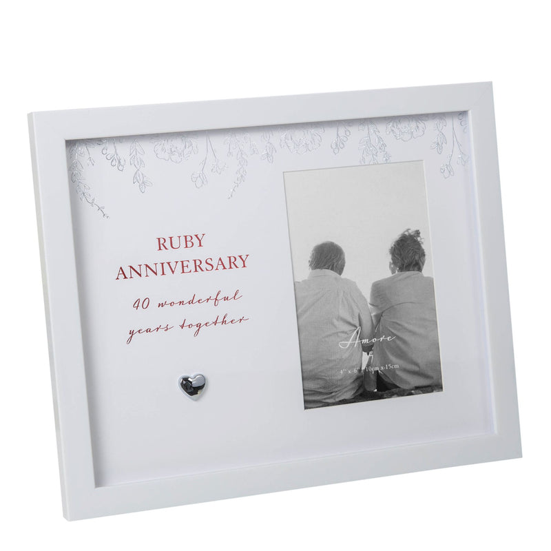 "4"" x 6"" - AMORE BY JULIANA® Anniversary Photo Frame - 40"