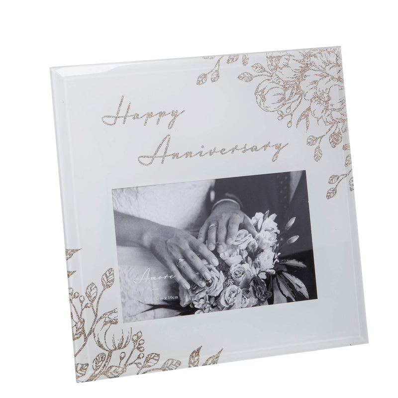 "6"" x 4"" - AMORE BY JULIANA® Happy Anniversary Photo Frame"