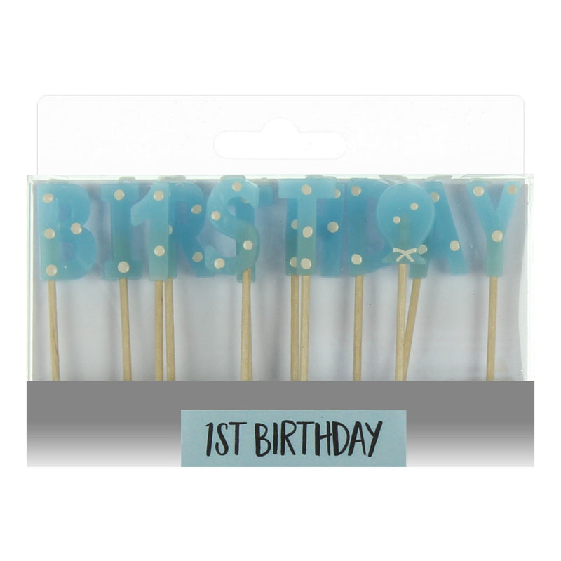 Signography Blue Letter Candles - First Birthday