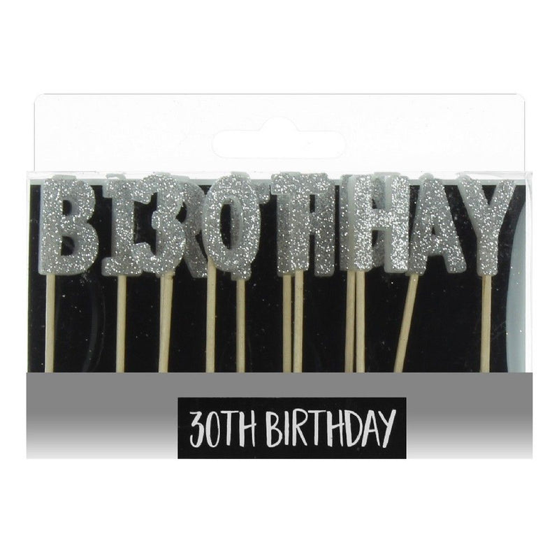 Signography Silver Letter Candles - 30th Birthday