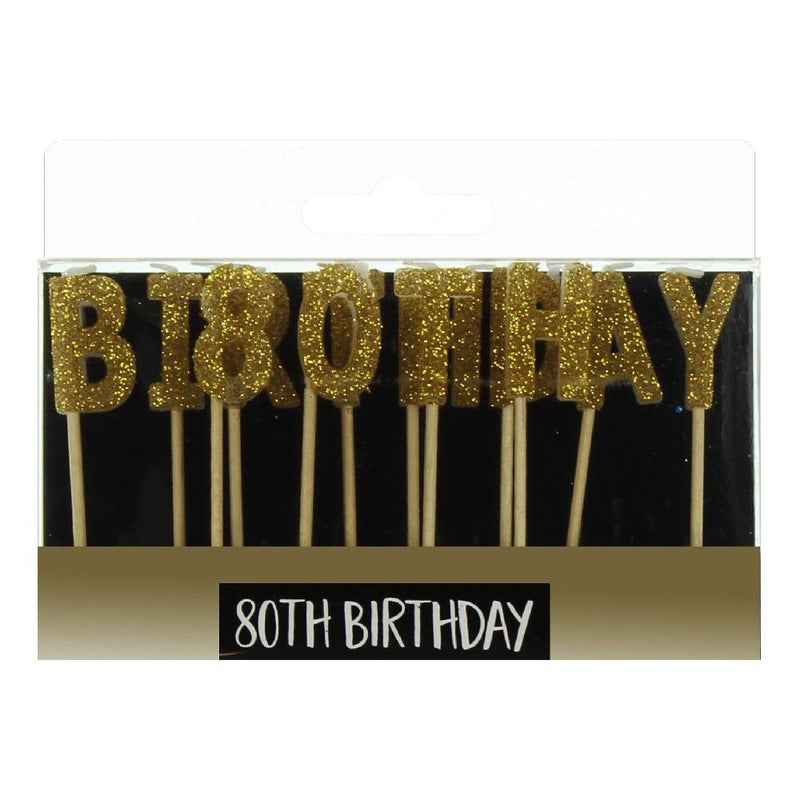 Signography Gold Letter Candles - 80th Birthday