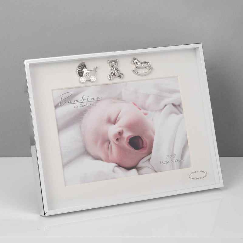 "7"" x 5"" - Bambino Thin Silver Plated Photo Frame"