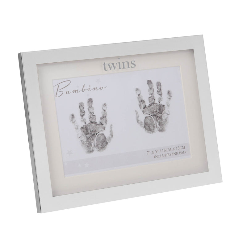 Bambino Silver Plated Handprint Frame with Ink Pad - Twins