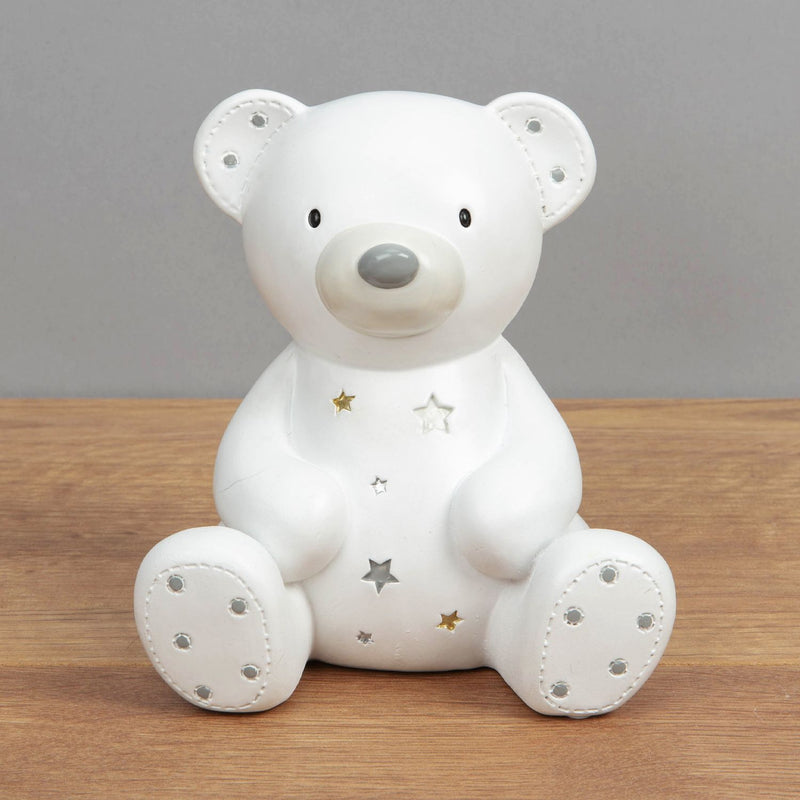 Bambino White Resin Money Box - Teddy