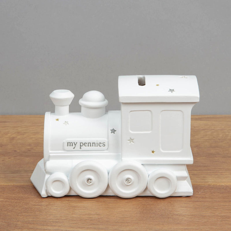 Bambino White Resin Money Box - Train