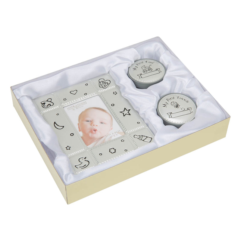 "2"" x 3"" - Photo Frame & First Tooth & Curl Luxury Boxed Set"