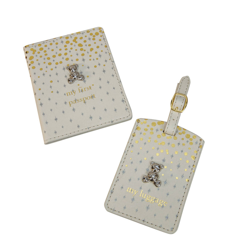 Bambino Gold & Glitter Passport & Luggage Tag with Teddy