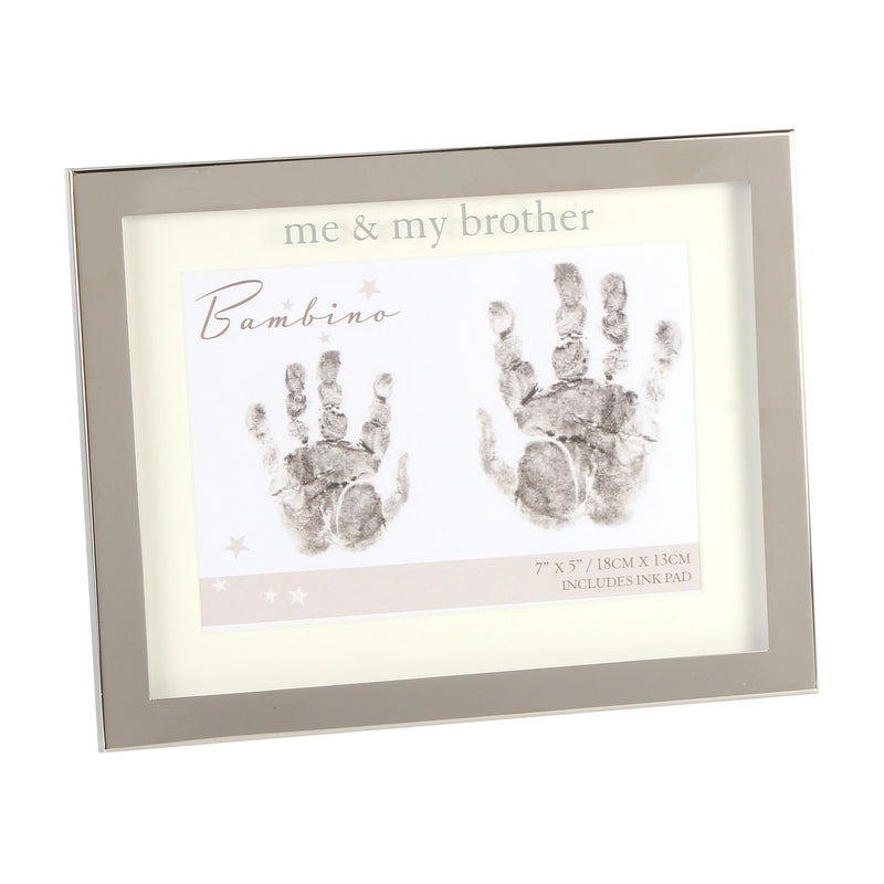 Bambino Silver Plated Hand Print Frame- Me & My Brother 7x5""