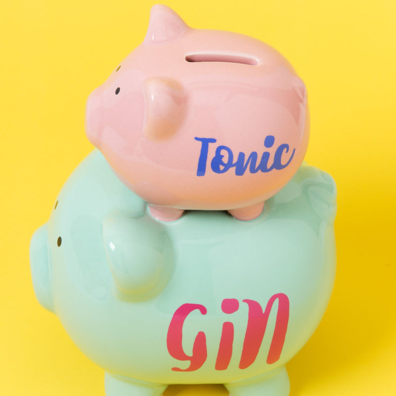 'Pennies & Dreams' Double Piggy Bank - Gin & Tonic