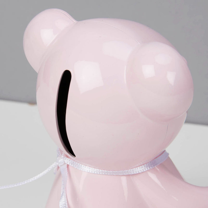 Bambino Pink Metal Teddy Bear Money Box