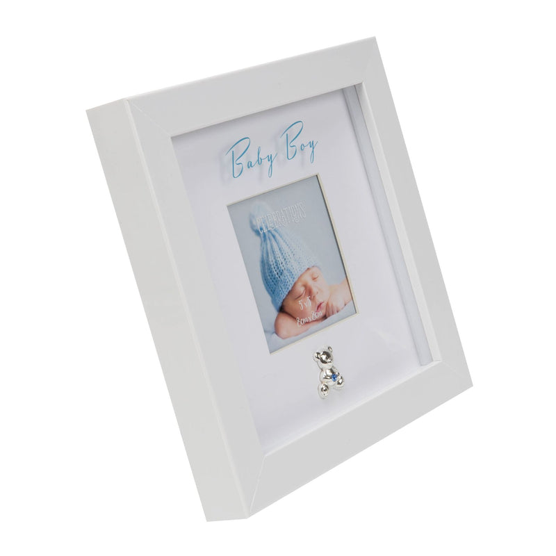"3"" x 3"" - Baby Boy Box Frame with Engraving Plate"