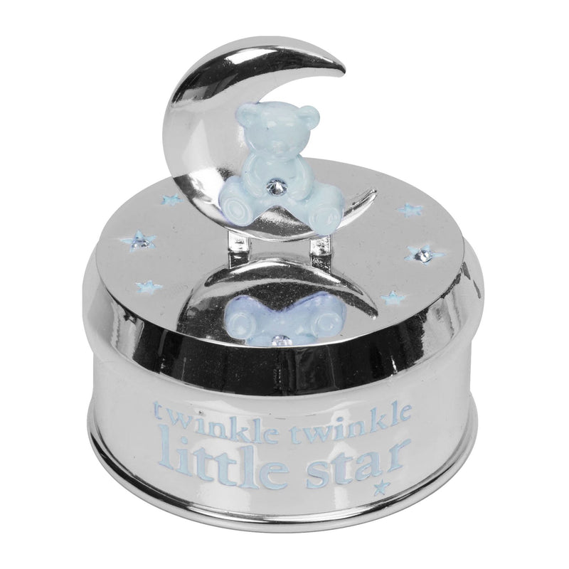 Bambino Silver Plated Musical Bear in Moon - Blue