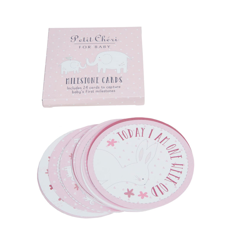 Petit Cheri Set of 24 Milestones Cards - Pink