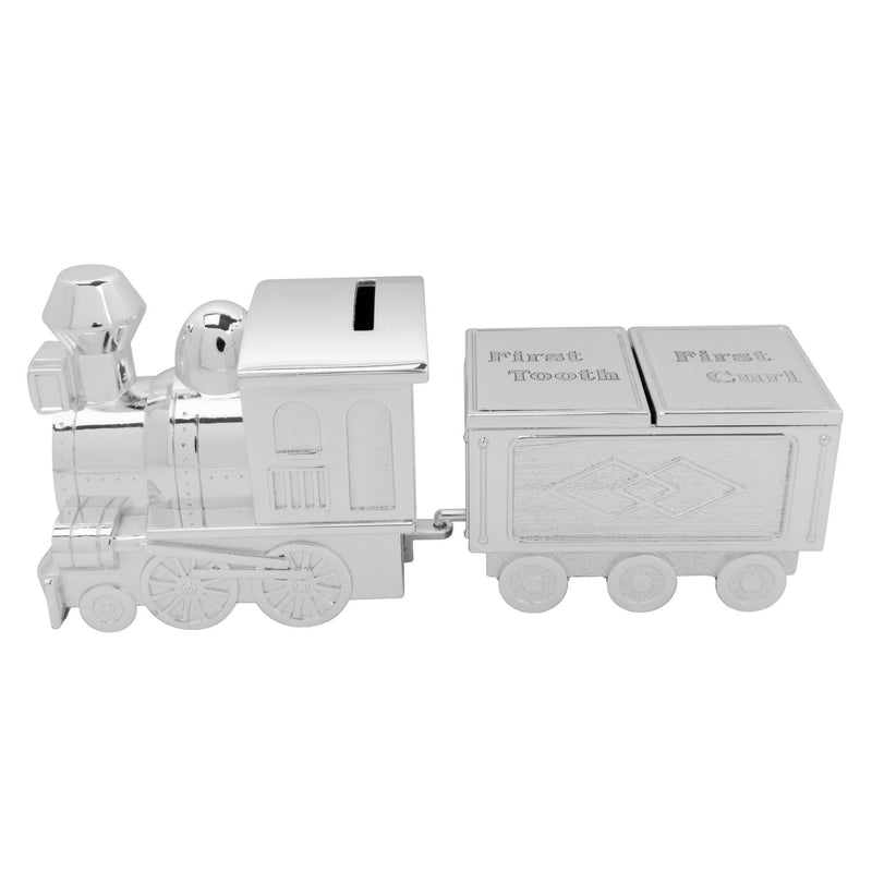Bambino Silver Plated Train Money Box & Tooth/Curl Carriage