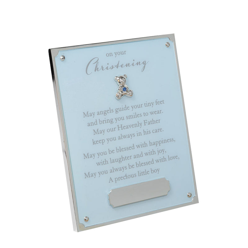 Bambino Blue 'On Your Christening' Plaque - Engraving Plate