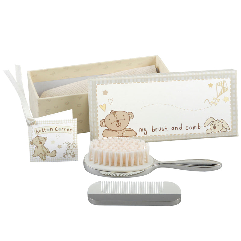 Button Corner Silverplated Brush & Comb Set