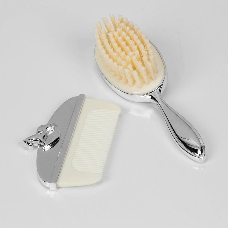 Bambino Silver Plated New Baby Hair Brush & Comb Set