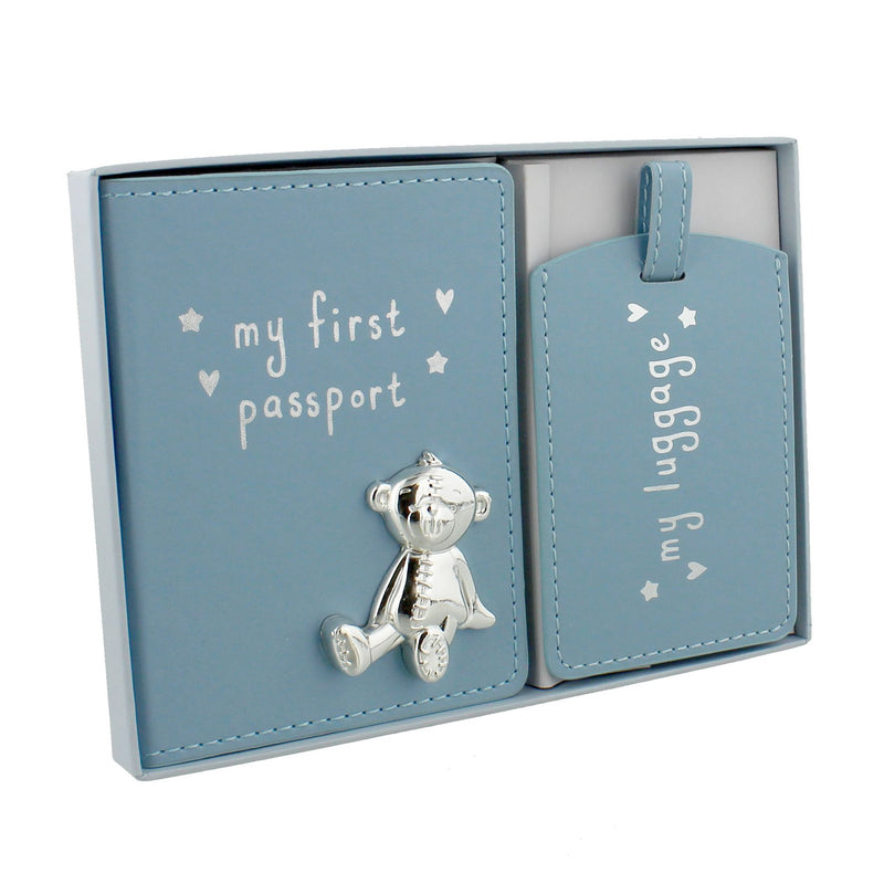 Button Corner Blue My First Passport & Luggage Tag