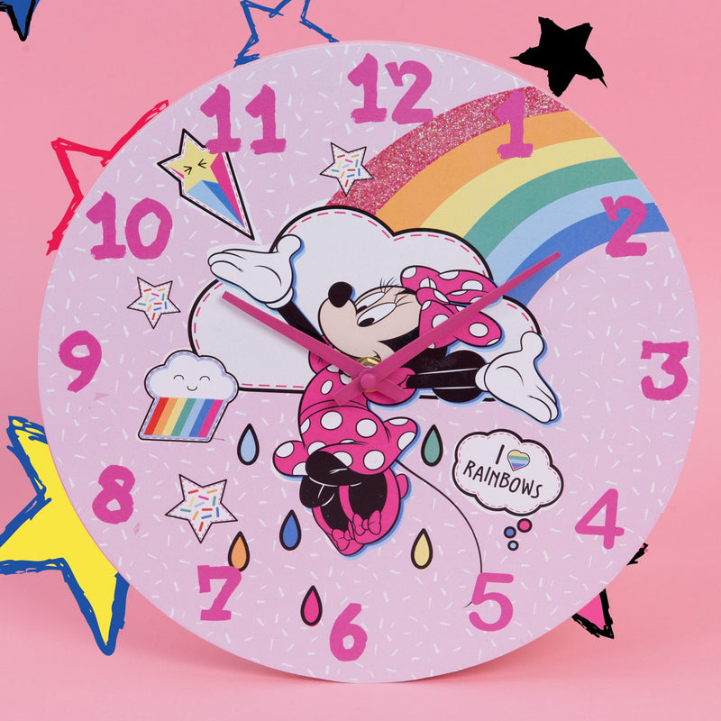 Disney Minnie Mouse Wall Clock - Rainbows Make Me Smile