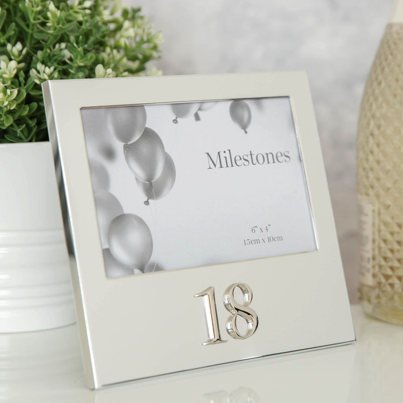 "6"" x 4"" - Milestones Birthday Frame with 3D Number - 18"