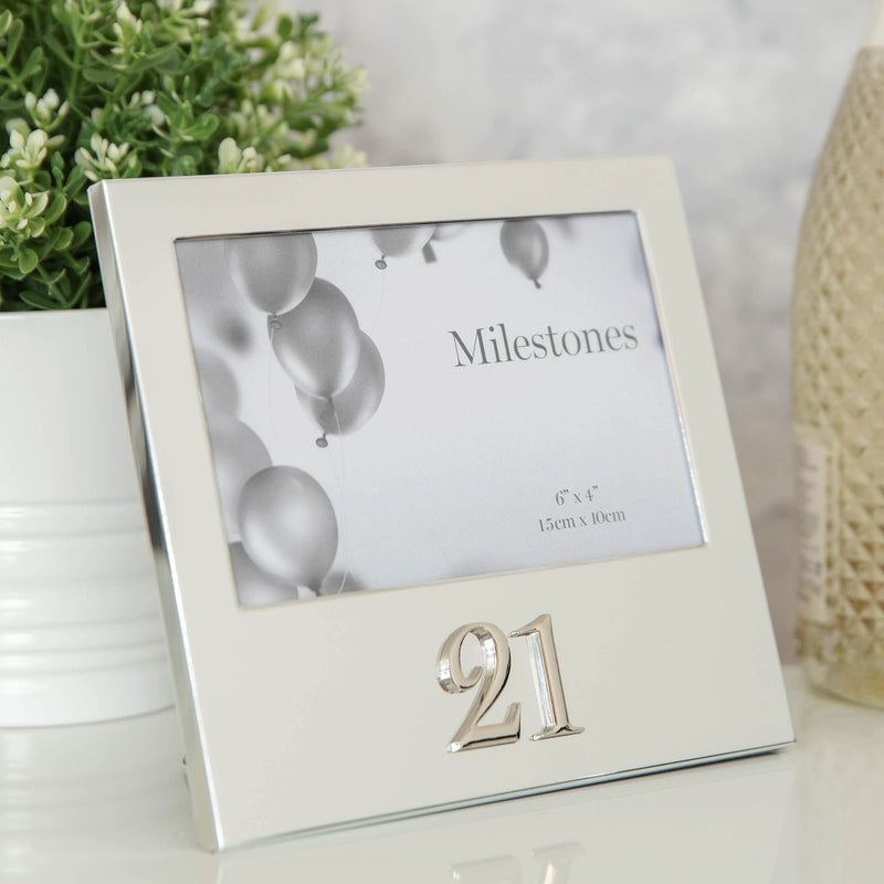 "6"" x 4"" - Milestones Birthday Frame with 3D Number - 21"