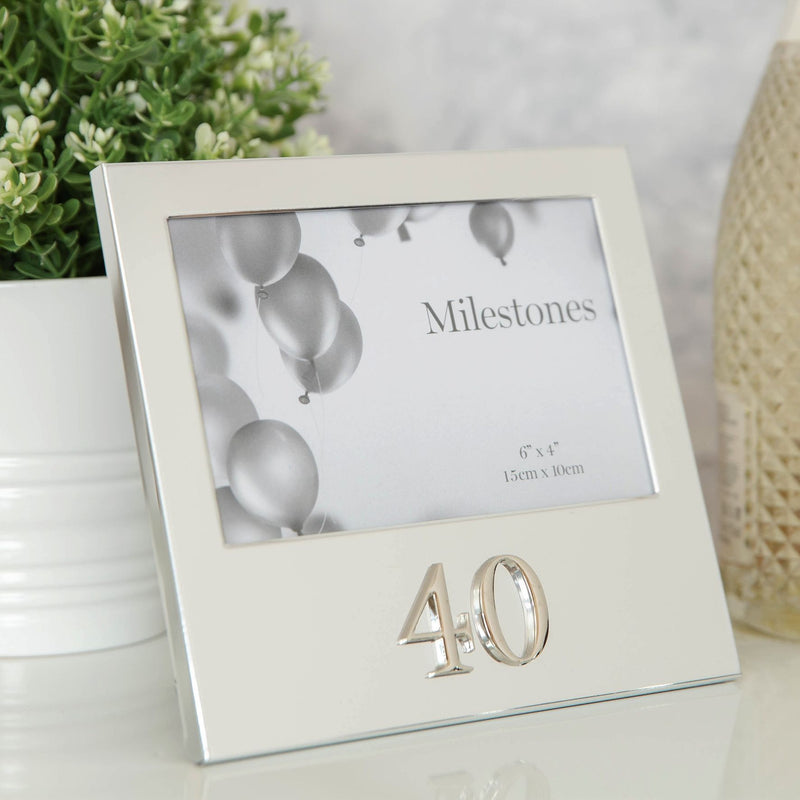 "6"" x 4"" - Milestones Birthday Frame with 3D Number - 40"