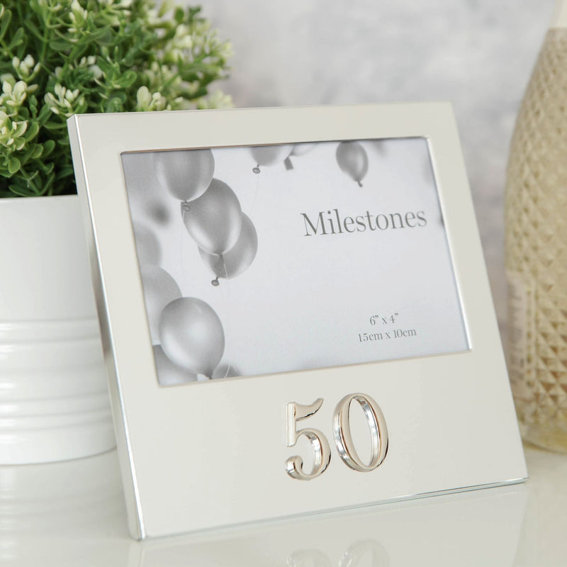 "6"" x 4"" - Milestones Birthday Frame with 3D Number - 50"