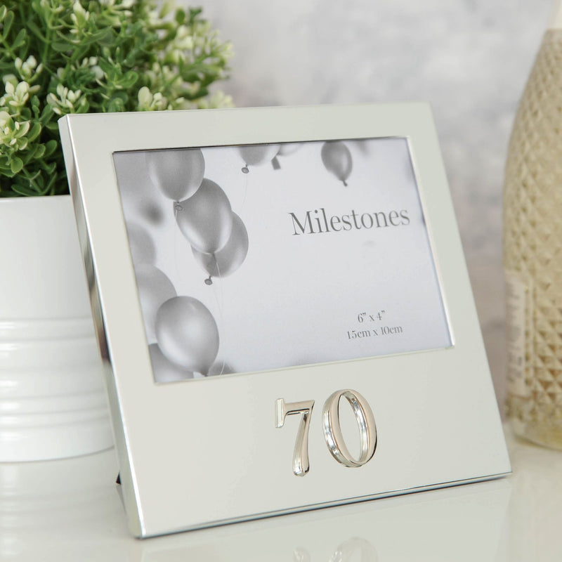 "6"" x 4"" - Milestones Birthday Frame with 3D Number - 70"
