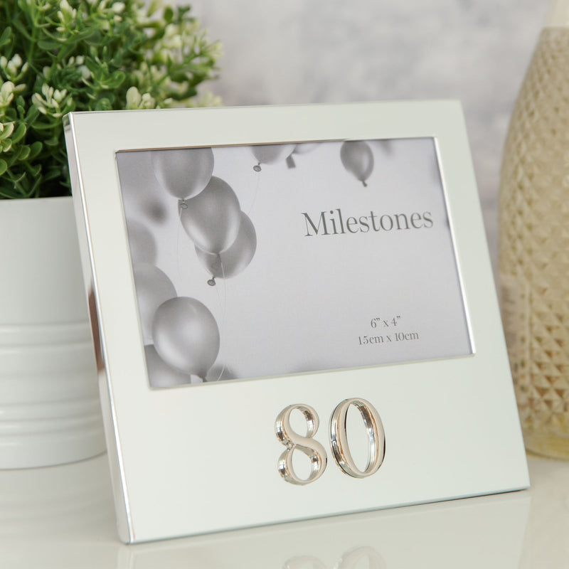 "6"" x 4"" - Milestones Birthday Frame with 3D Number - 80"