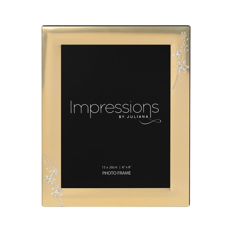 "6"" x 8"" - IMPRESSIONS® Gold Photo Frame with Crystal Flowers"