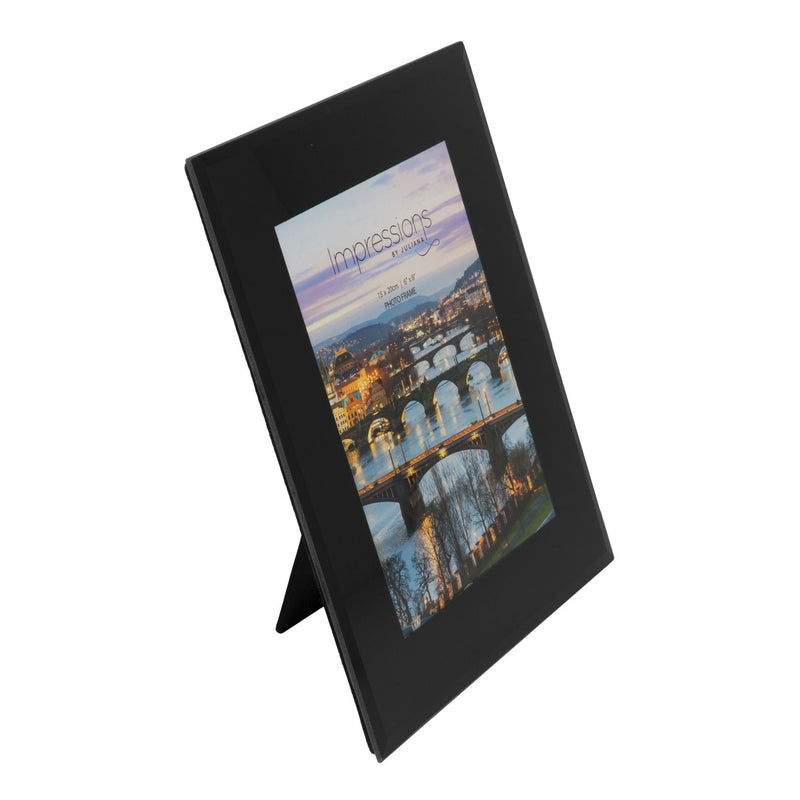 "6"" x 8"" - Impressions Plain Black Glass Photo Frame"