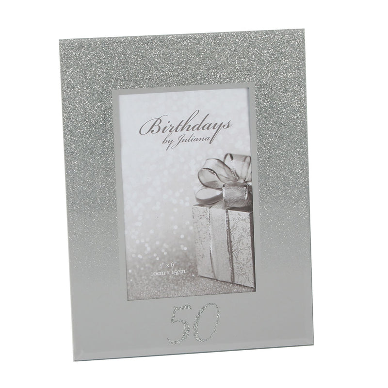 "4"" x 6"" - Birthdays by Juliana Glitter Mirror Frame - 50th"
