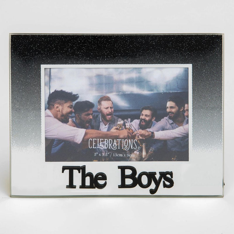 "5"" x 3.5"" Black Glitter Glass Frame - The Boys"