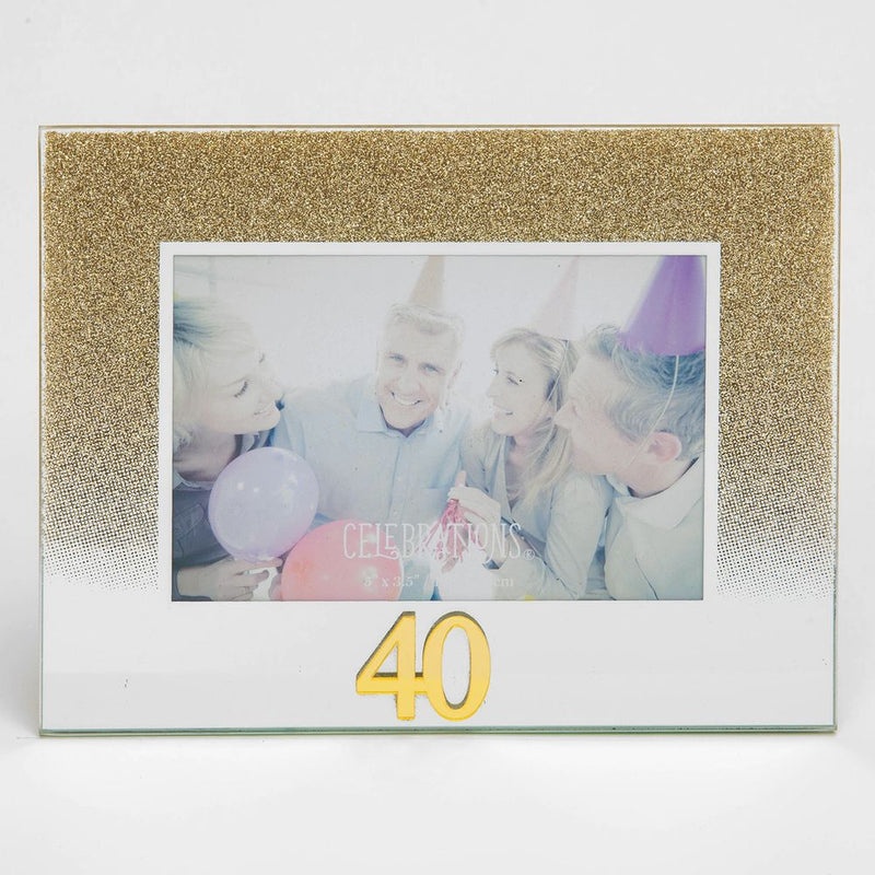 "5"" x 3.5"" Gold Glitter Glass Birthday Frame - 40"