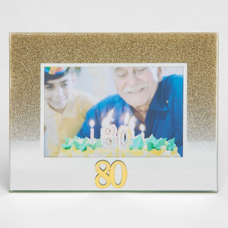 "5"" x 3.5"" Gold Glitter Glass Birthday Frame - 80"