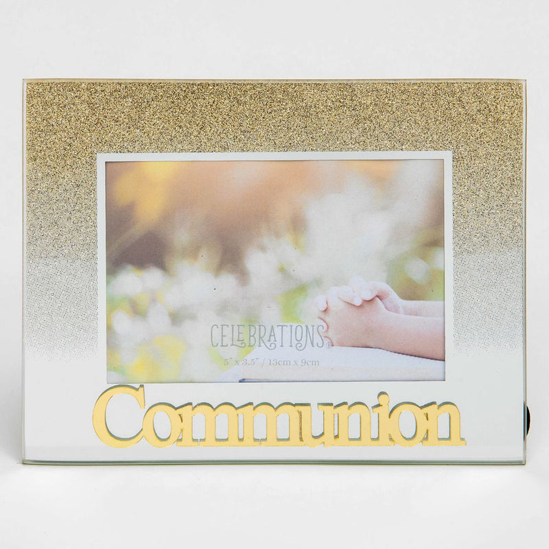 "5"" x 3.5"" Gold Glitter Glass Frame - Communion"