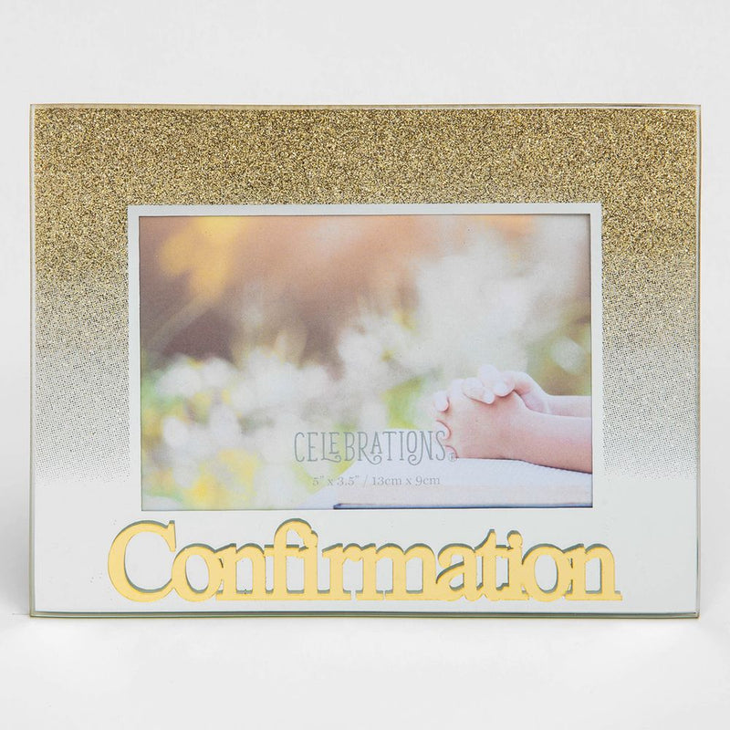 "5"" x 3.5"" Gold Glitter Glass Frame - Confirmation"