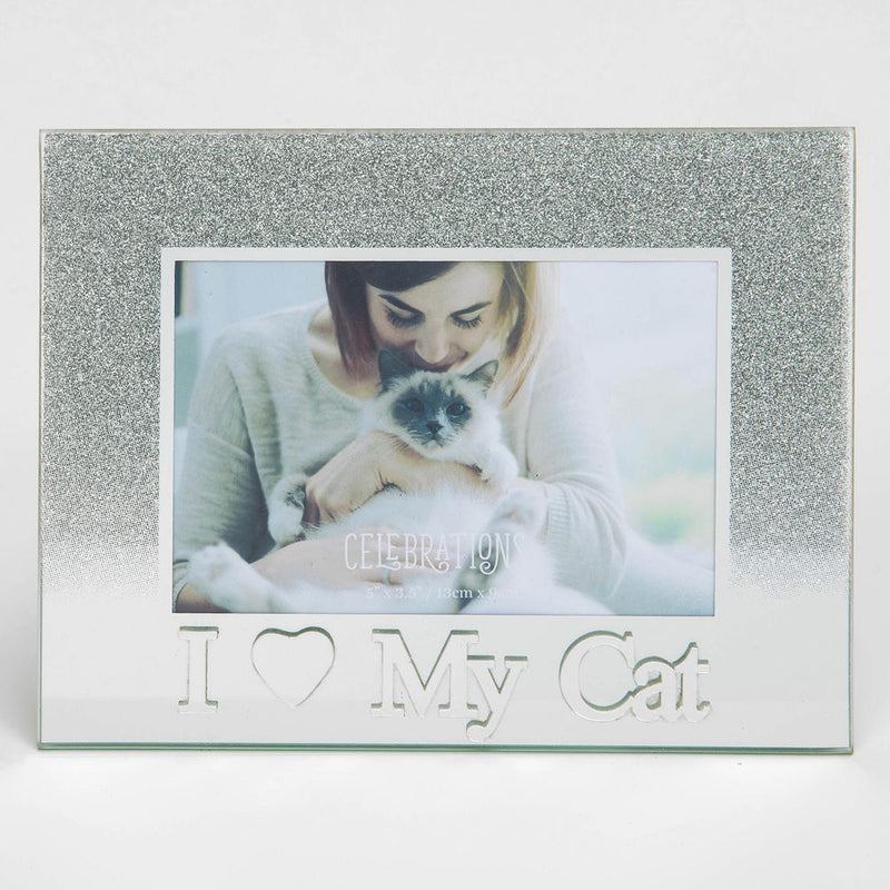 "5"" x 3.5"" Silver Glass Frame - I Love My Cat"