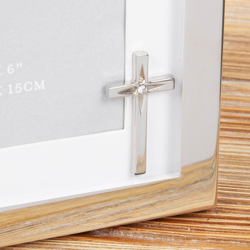 "4"" x 6"" - Faith & Hope Silver Plated Frame with Crucifix"
