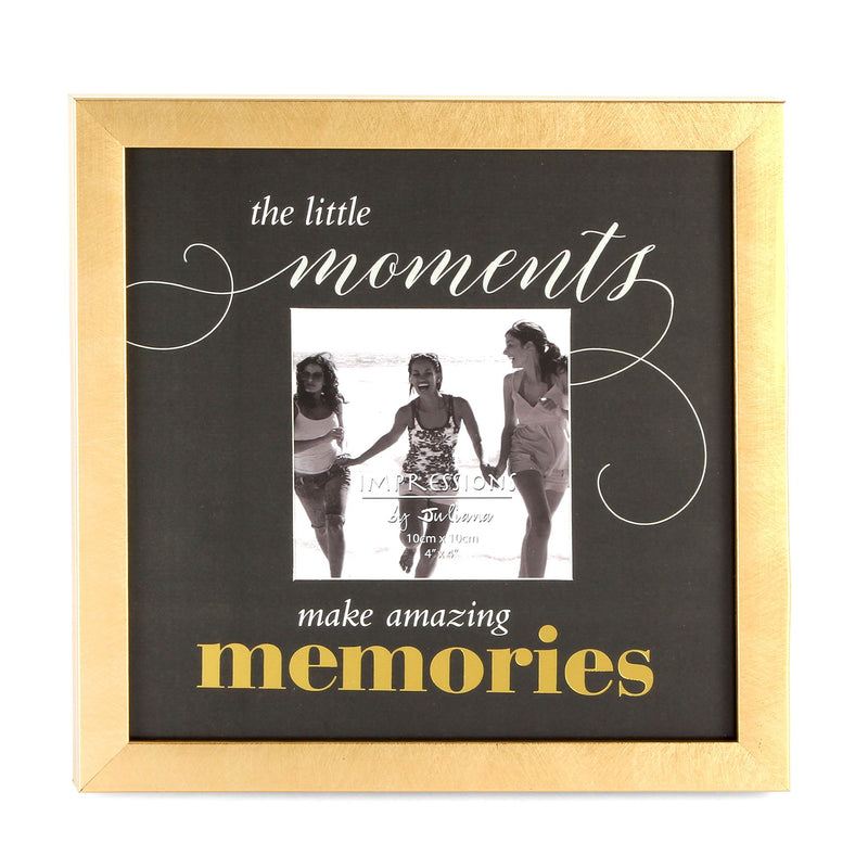 "4"" x 4"" - Celebrations Gold Finish Photo Frame - Memories"