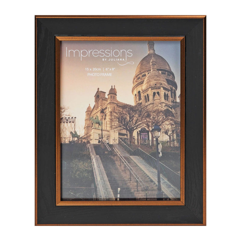 "6"" x 8"" - Impressions Black & Bronze Wood Finish Photo Frame"