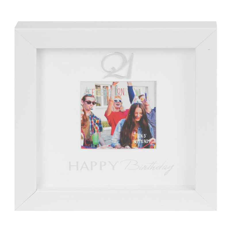"3"" x 3"" - Happy Birthday Box Photo Frame - 21st"