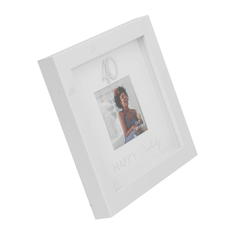 "3"" x 3"" - Happy Birthday Box Photo Frame - 40th"